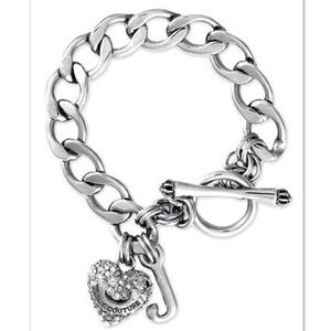 Juicy Couture Silver Pave Heart Starter Bracelet